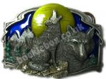Wolves and Moon Belt Buckle with display stand